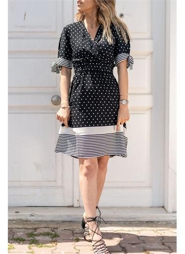XHAN Siyah Puantiyeli Kruvaze Elbise 0Yxk6-43470-02 Siyah